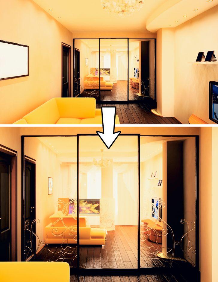 hình ảnh gương lớn được sử dụng trong nhà nhỏ