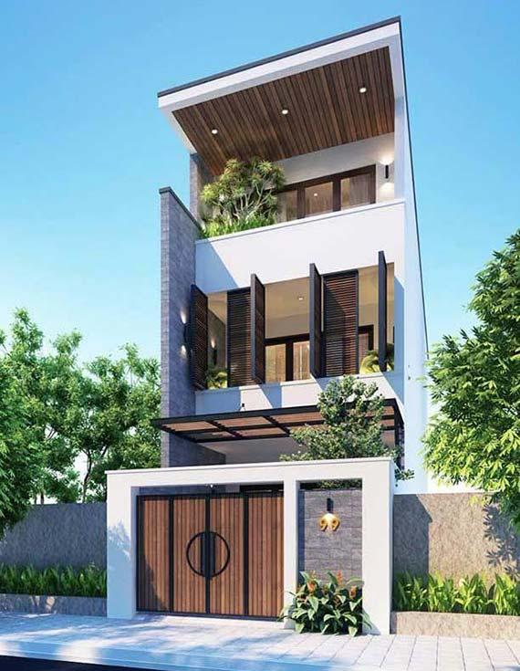 hình ảnh mẫu nhà phố hiện đại, gần gũi với hệ thống cửa gỗ mặt tiền sang trọng