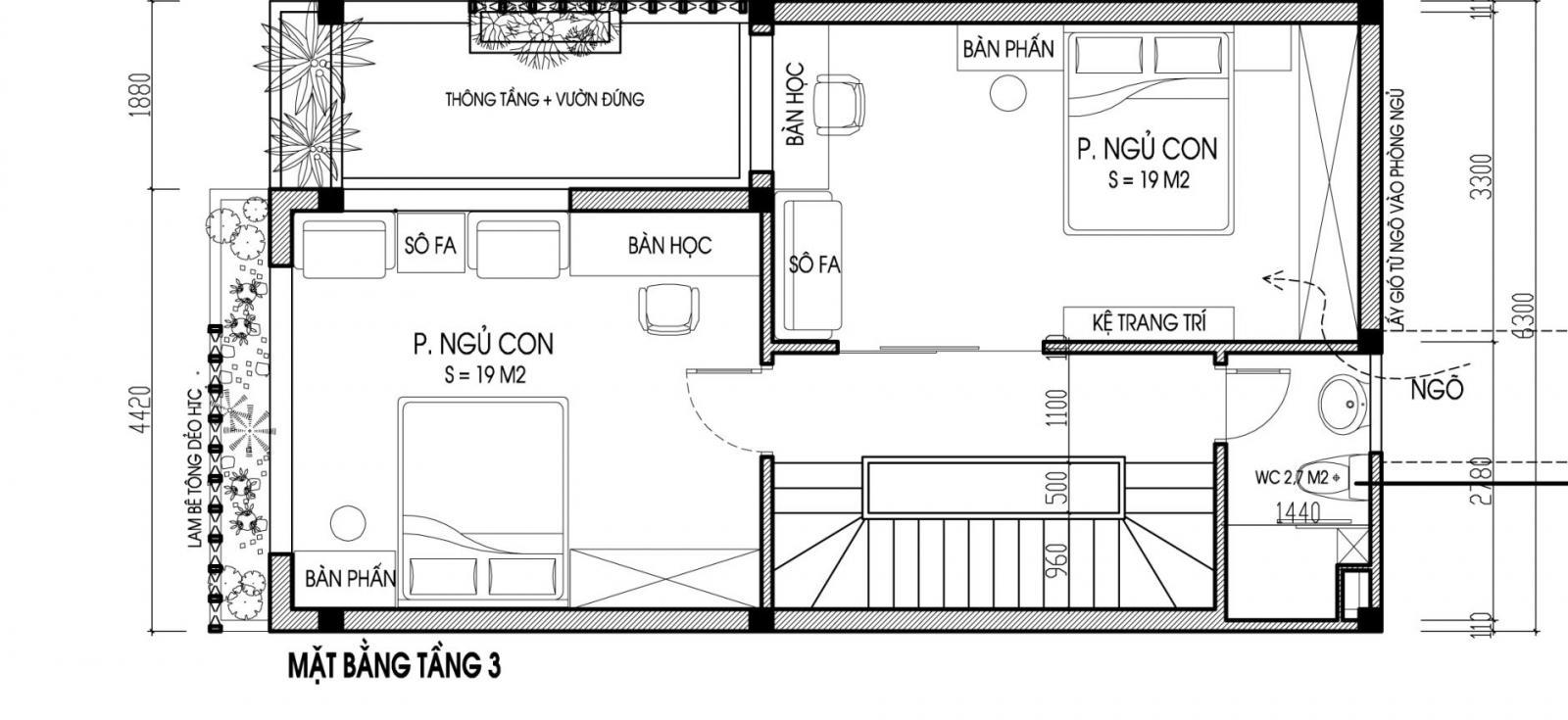 hình ảnh mặt bằng bố trí nội thất tầng 3 nhà ống