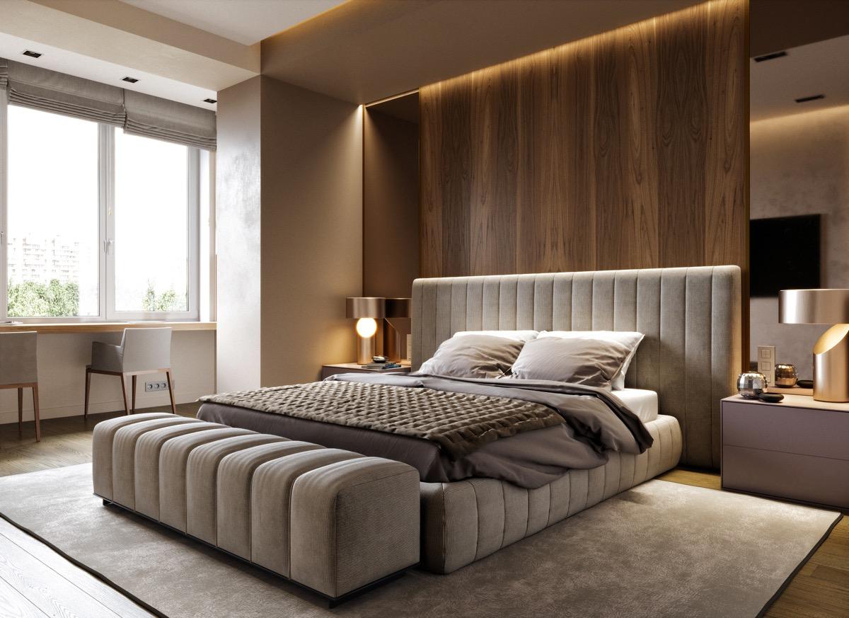 hình ảnh phòng ngủ sang trọng, sử dụng nội thất cao cấp màu trung tính, cạnh cửa sổ kính là bàn học hoặc bàn làm việc đôi
