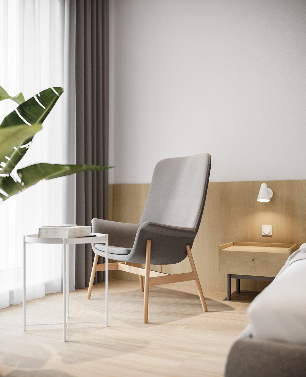 hình ảnh góc đọc sách, thư giãn cạnh cửa sổ kính phòng ngủ với bàn phụ tròn màu trắng, ghế tựa êm ái