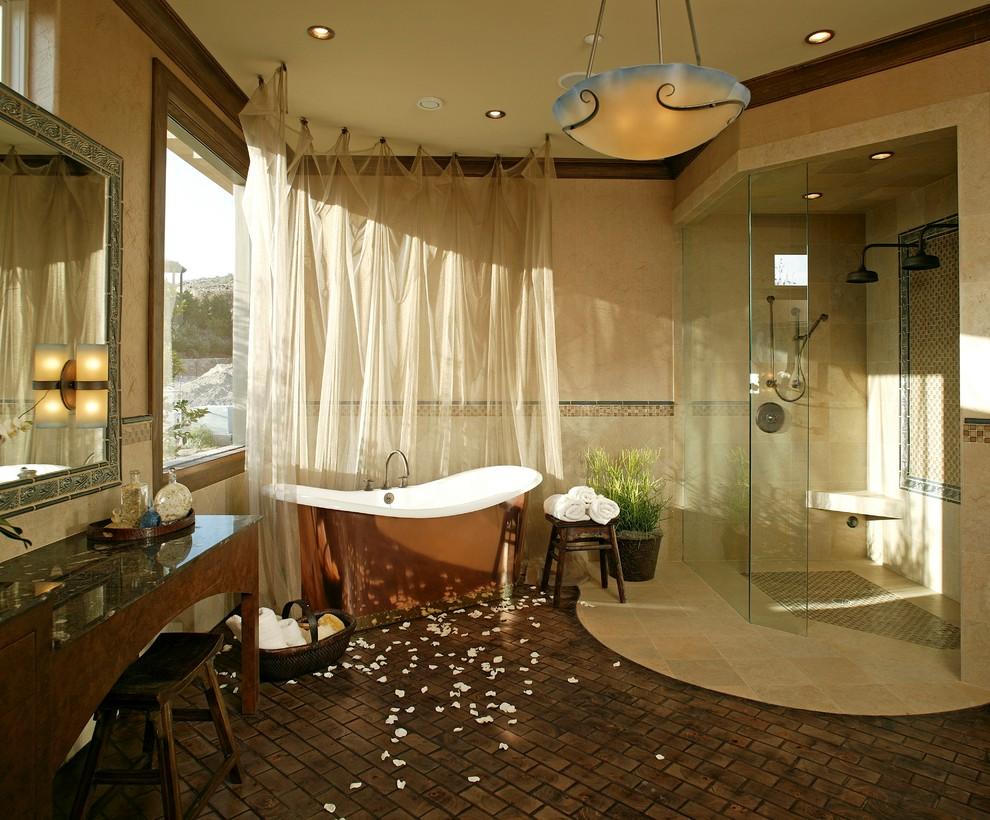 Mẫu bồn tắm bằng đồng làm sáng bừng không gian sống