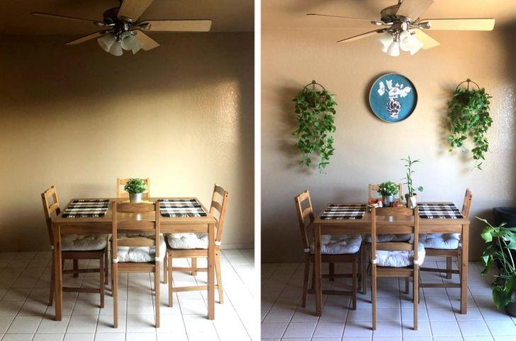 phòng ăn trước và sau khi cải tạo