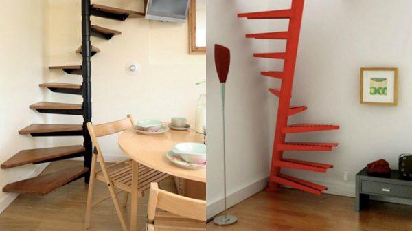 Mẫu cầu thang gác lửng dạng xoáy ốc chỉ chiếm khoảng 1m2 diện tích sàn.