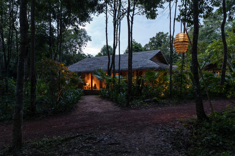 ngôi nhà nghĩ dưỡng giữa rừng cây với ánh đèn vàng ấm áp