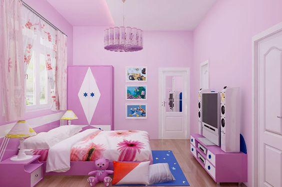 mẫu phòng ngủ cho con gái với tông màu hồng tím