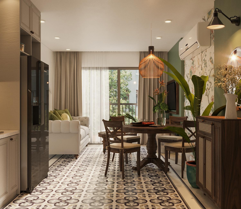 phòng khách căn hộ phong cách bespoke với sàn gạch bông, sofa trắng sữa, nội thất gỗ nâu