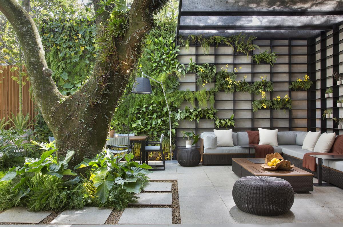 phòng khách ngôi nhà 160m2 với bàn ghế sofa đơn giản, nằm dưới tán cây cổ thụ