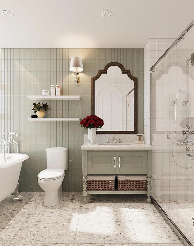 Trong biệt thự đơn lập, phòng tắm được thiết kế rộng rãi, thoáng sáng với đầy đủ trang thiết bị nội thất cao cấp.