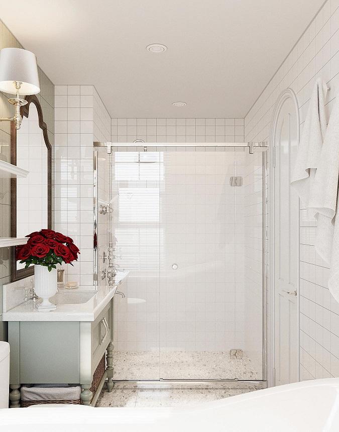phòng tắm màu trắng chủ đạo