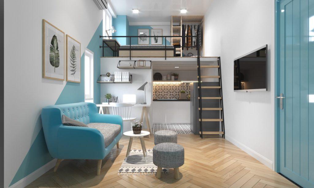 Mẫu thiết kế nội thất căn hộ dành cho người độc thân đẹp, thoáng và ấm áp.