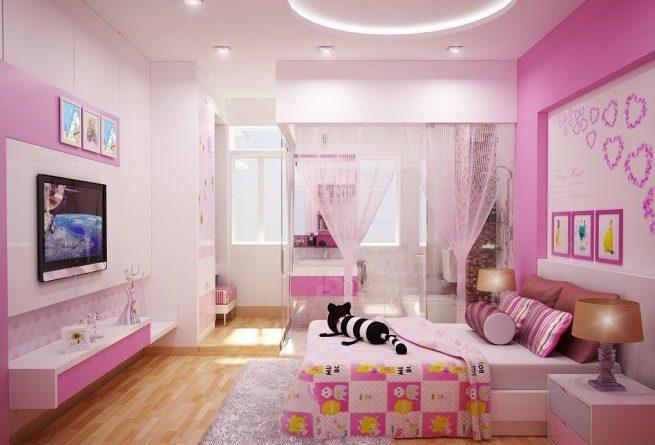 hình ảnh phòng ngủ bé gái màu hồng - trắng chủ đạo
