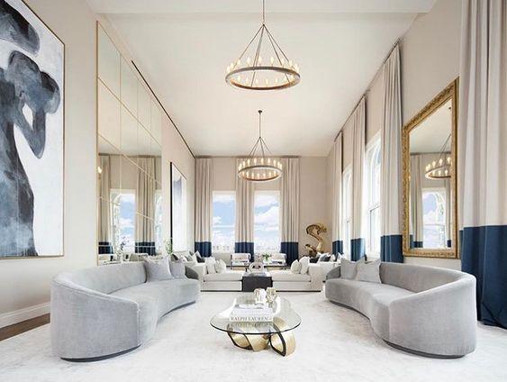 Phòng khách biệt thự phong cách Pháp hiện đại, đơn giản nhưng vẫn rất hút mắt.