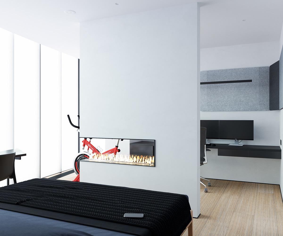 Không gian làm việc thứ hai nằm bên cạnh thiết bị tập thể dục.