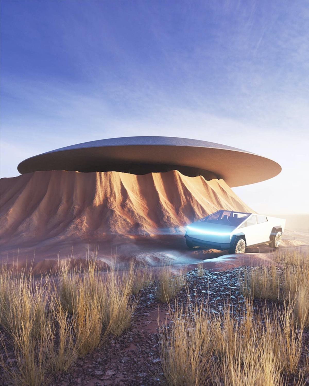 Cấu trúc nhà bê tông giống như tàu vũ trụ của người ngoài hành tinh nhô lên trên  lớp vỏ của Trái đất.