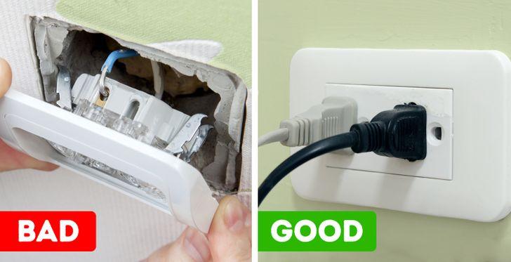 hình ảnh ổ điện gắn cố định vào tường và ổ điện lỏng lẻo
