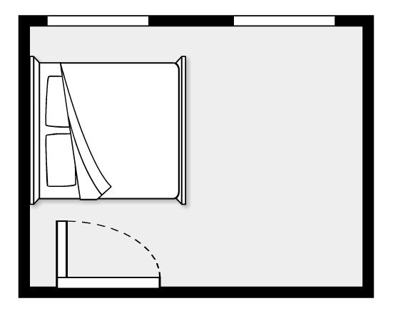 hình ảnh minh họa cho việc đặt giường ngủ ở vị trí giữa cửa sổ và cửa ra vào phòng