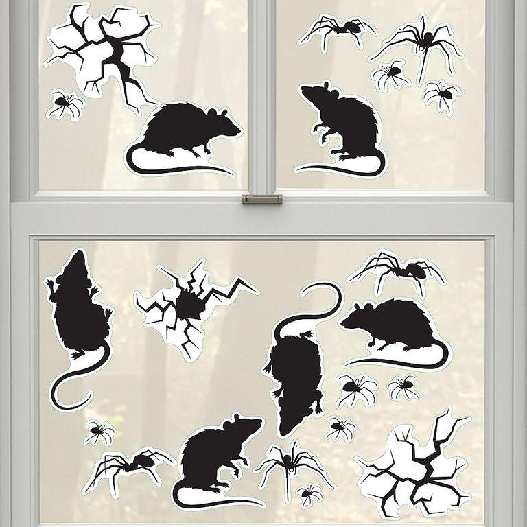 decal chuột, nhện dáng cửa sổ trang trí Halloween