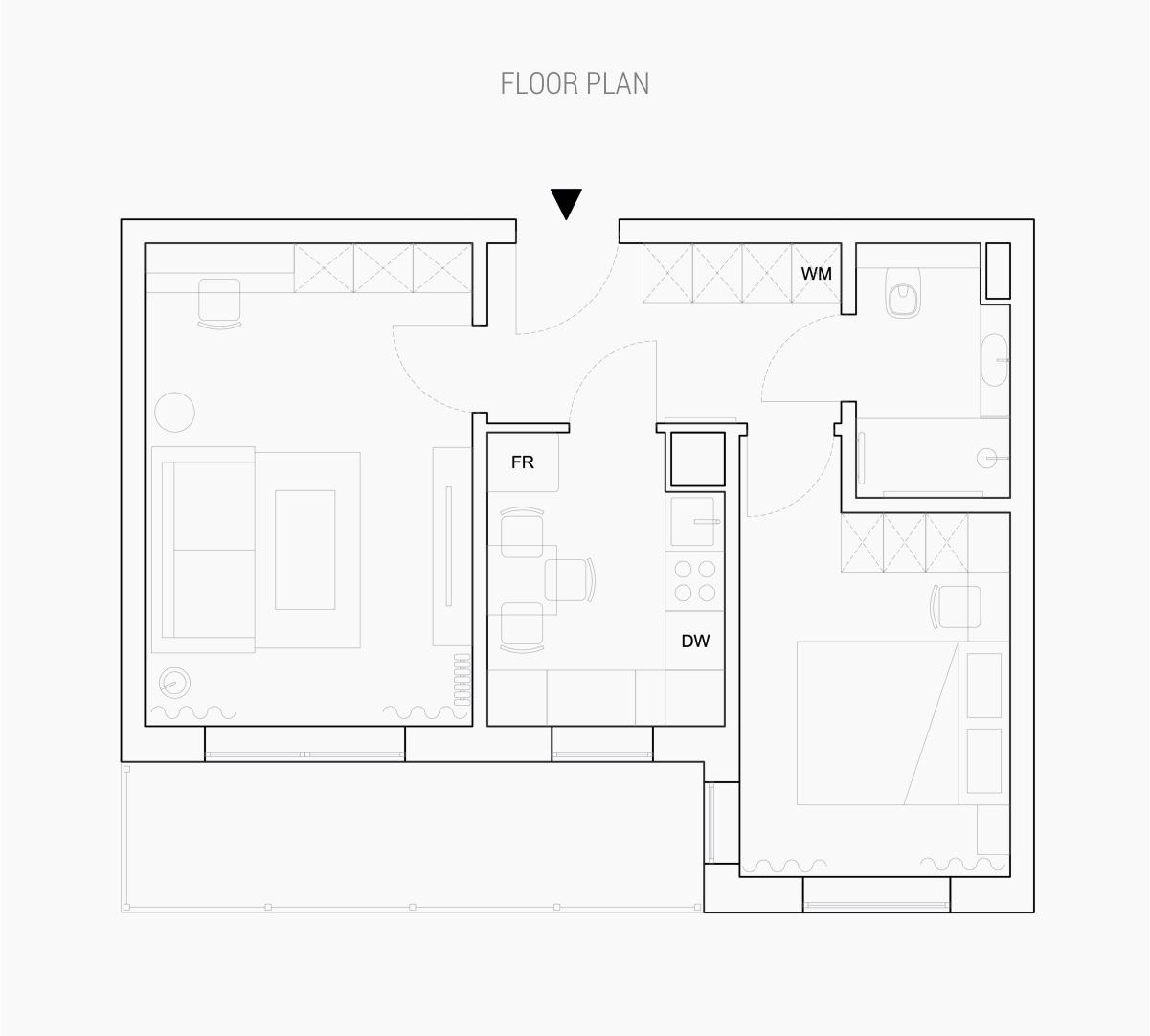 Sơ đồ bố trí nội thất căn hộ 43m2