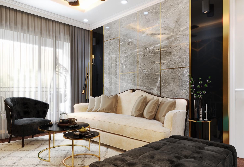 phòng khách căn hộ cao cấp với sofa trắng cổ điển, ghế bành màu xám, sofa giường chần bông