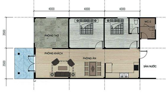 Mặt bằng bố trí nội thất nhà cấp 4 mái Thái