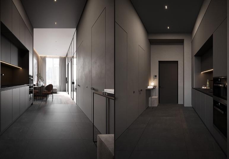 Bếp được bố trí ở bức tường chạy dọc hành lang về phía lối vào căn hộ nhỏ. Sắc xám xi măng tạo cảm giác thanh lịch, sạch sẽ.