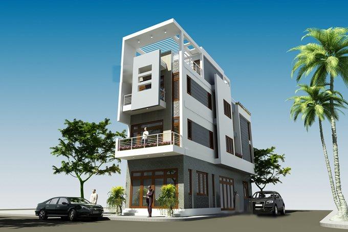 Phối cảnh 3D mẫu nhà phố 4 tầng kết hợp kinh doanh