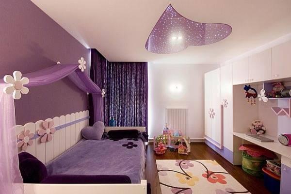 Mẫu thiết kế phòng ngủ con gái với sắc tím oải hương lãng mạn, đồng thời giúp gia tăng chiều sâu cho căn phòng.