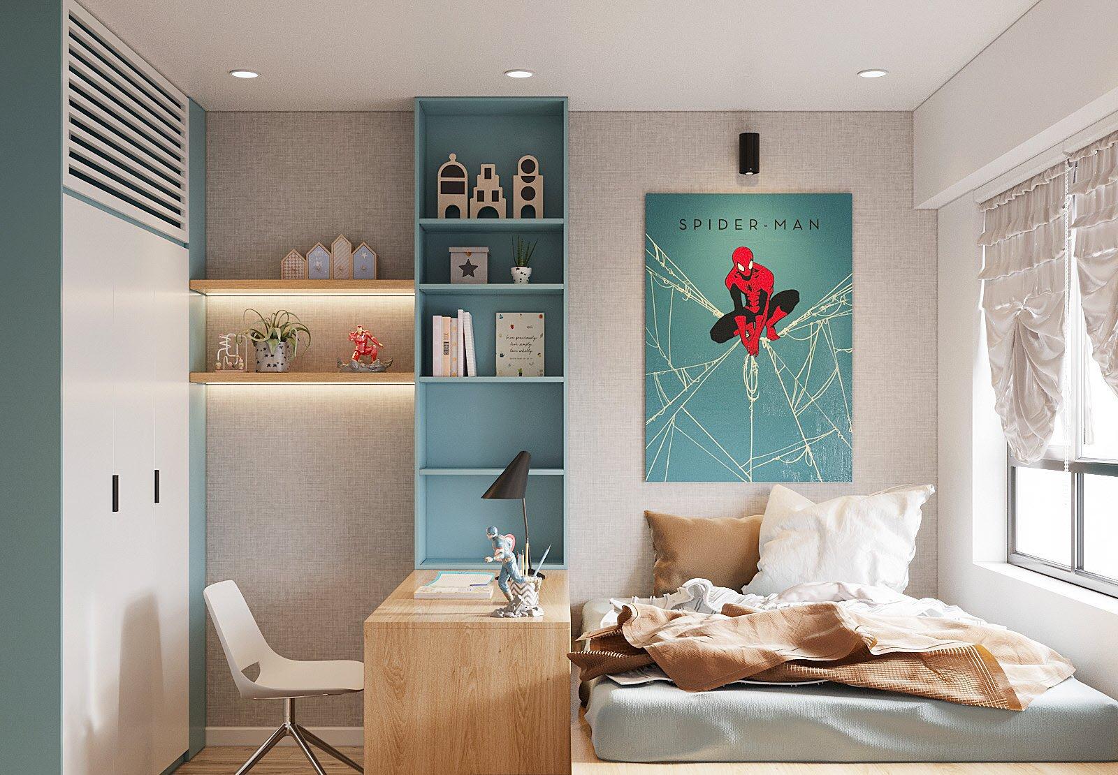 góc phòng ngủ bé trai màu xanh da trời với điểm nhấn là hình ảnh siêu nhân người nhện
