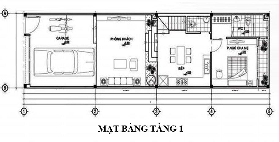 Mặt bằng bố trí nội thất tầng 1 nhà ống mái Thái