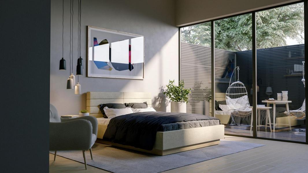 Mẫu thiết kế phòng ngủ master phong cách đương đại với điểm nhấn là tranh nghệ thuật đầu giường, đèn thả, cây xanh.