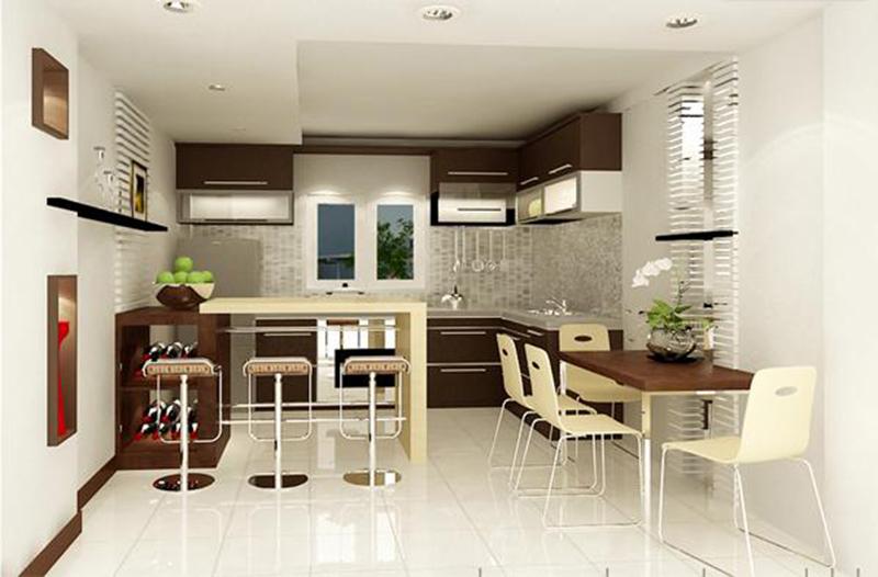 Phòng bếp kết hợp phòng ăn ấm cúng với hệ tủ gỗ màu nâu cánh gián hiện đại. Khung cửa sổ trượt bằng kính đón sáng và thông gió cho căn phòng.