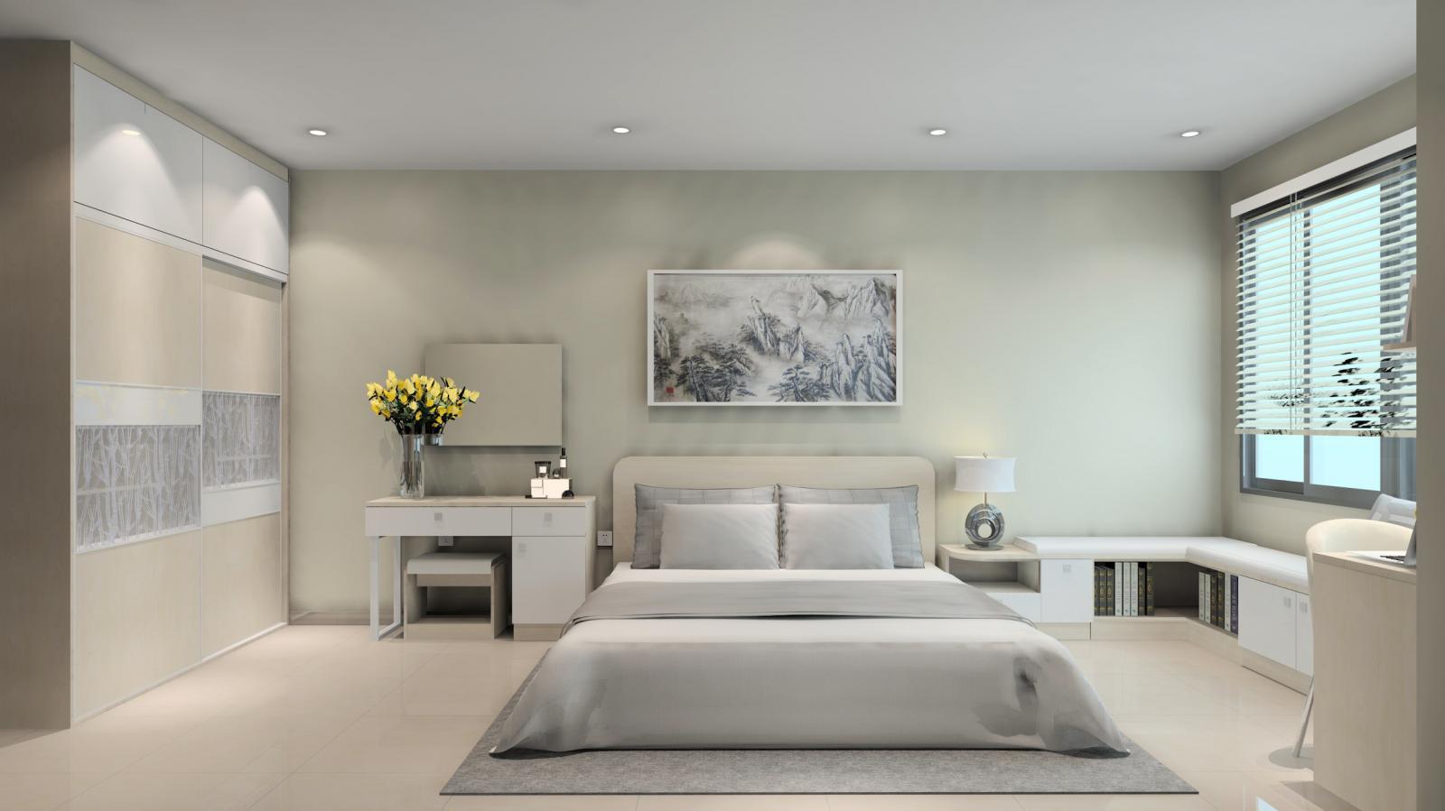 hình ảnh thiết kế nội thất phòng ngủ tông màu xám trắng chủ đạo với điểm nhấn là lọ hoa màu vàng tươi tắn