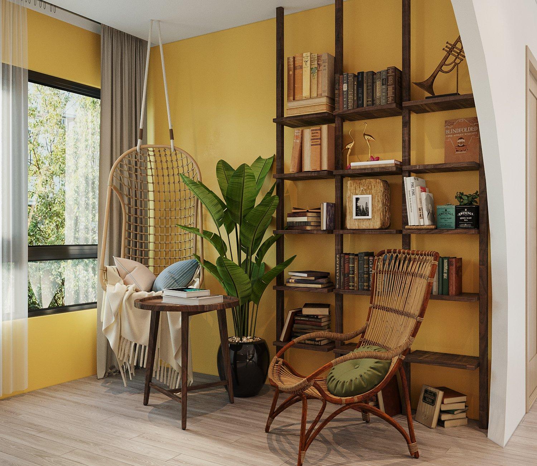 Cạnh khung cửa sổ kính ngập tràn ánh sáng, hướng nhìn ra mảng xanh thiên nhiên bên ngoài là góc đọc sách, thư giãn với nội thất gỗ và mây tre đan kết hợp hài hòa.