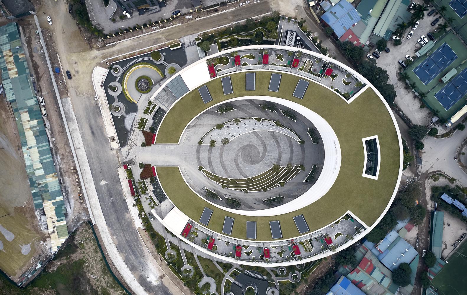phối cảnh tổng thể kiến trúc trụ sở chính của Viettel nhìn từ trên cao