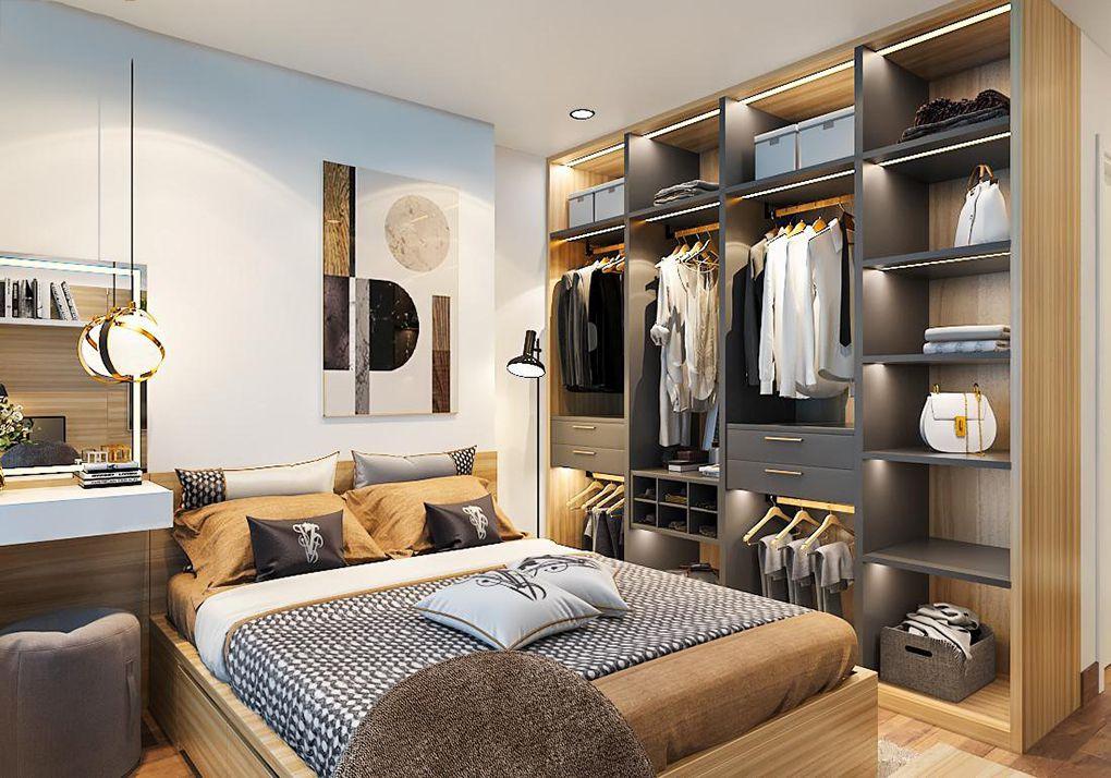 Phòng ngủ master tuy không quá rộng rãi nhưng vẫn rất thoáng đẹp. Đồ nội thất thiết kế riêng, vừa vặn với diện tích phòng.