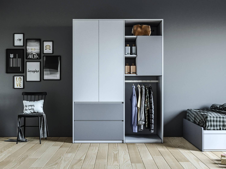 Một mẫu thiết kế tủ quần áo module trang nhã dành cho phòng ngủ phong cách tối giản.