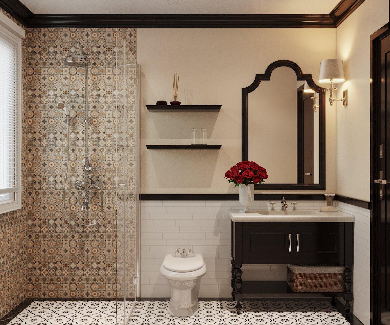 Vách kính trong suốt giúp phân tách giữa hai khu khô - ướt trong phòng tắm.
