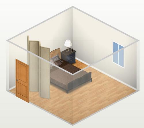 hình ảnh minh họa cho việc sử dụng bình phong che chắn giữa giường ngủ và cửa ra vào phòng