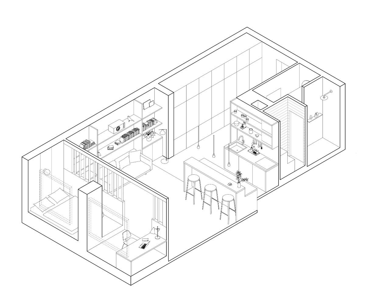 Phối cảnh thiết kế nội thất căn hộ nhỏ