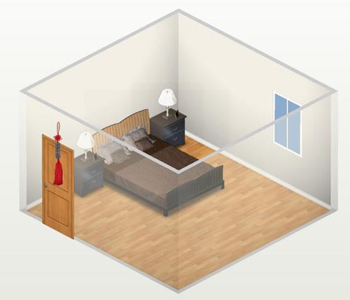hình ảnh minh họa cho việc sử dụng dải xu ngũ đế hóa giải cấm kỵ giường ngủ kê đối diện cửa ra vào phòng