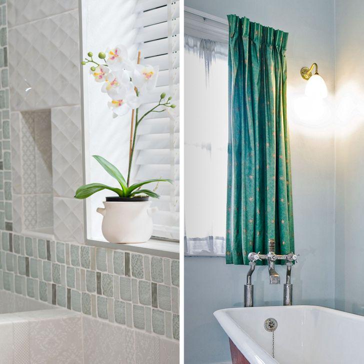 hình ảnh cận cảnh cửa sổ phòng tắm vưới chậu hoa phong làn, rèm cửa màu xanh tinh tế