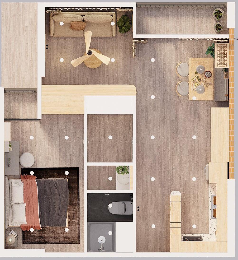 Phối cảnh bố trí nội thất căn hộ 60m2