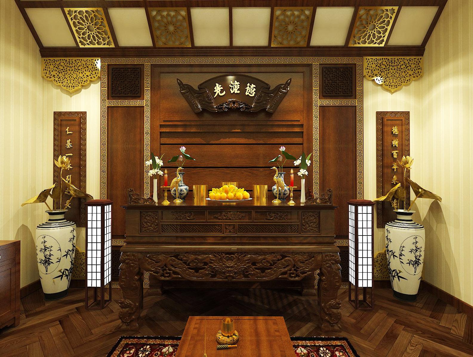 Phòng thờ trang nghiêm, sử dụng nội thất gỗ tự nhiên chủ đạo với hoa văn họa tiết được chạm khắc tinh xảo.