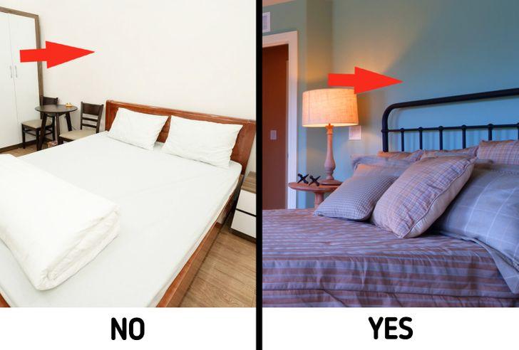 hình ảnh phòng ngủ sử dụng màu trắng chủ đạo, tương phản phòng ngủ sử dụng màu xanh chủ đạo