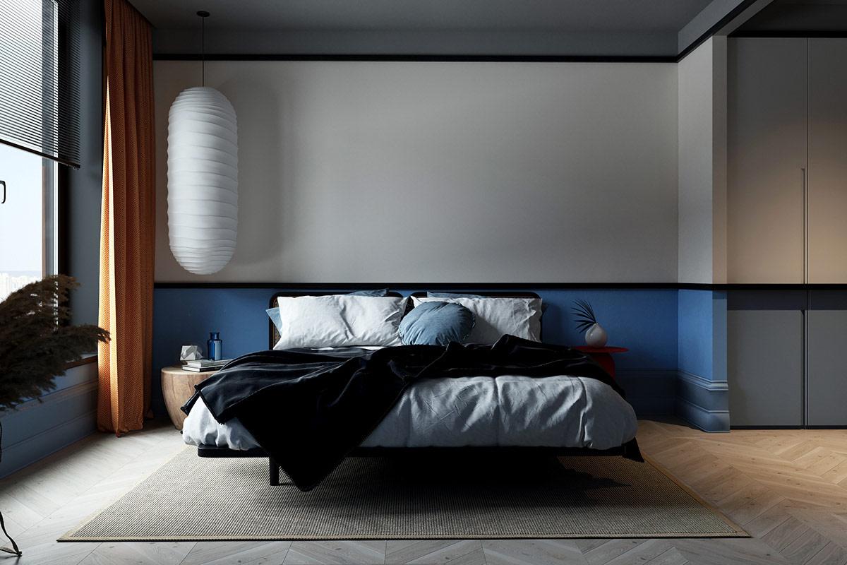 hình ảnh phòng ngủ với đường viền màu xanh lam, đèn thả màu trắng cỡ lớn