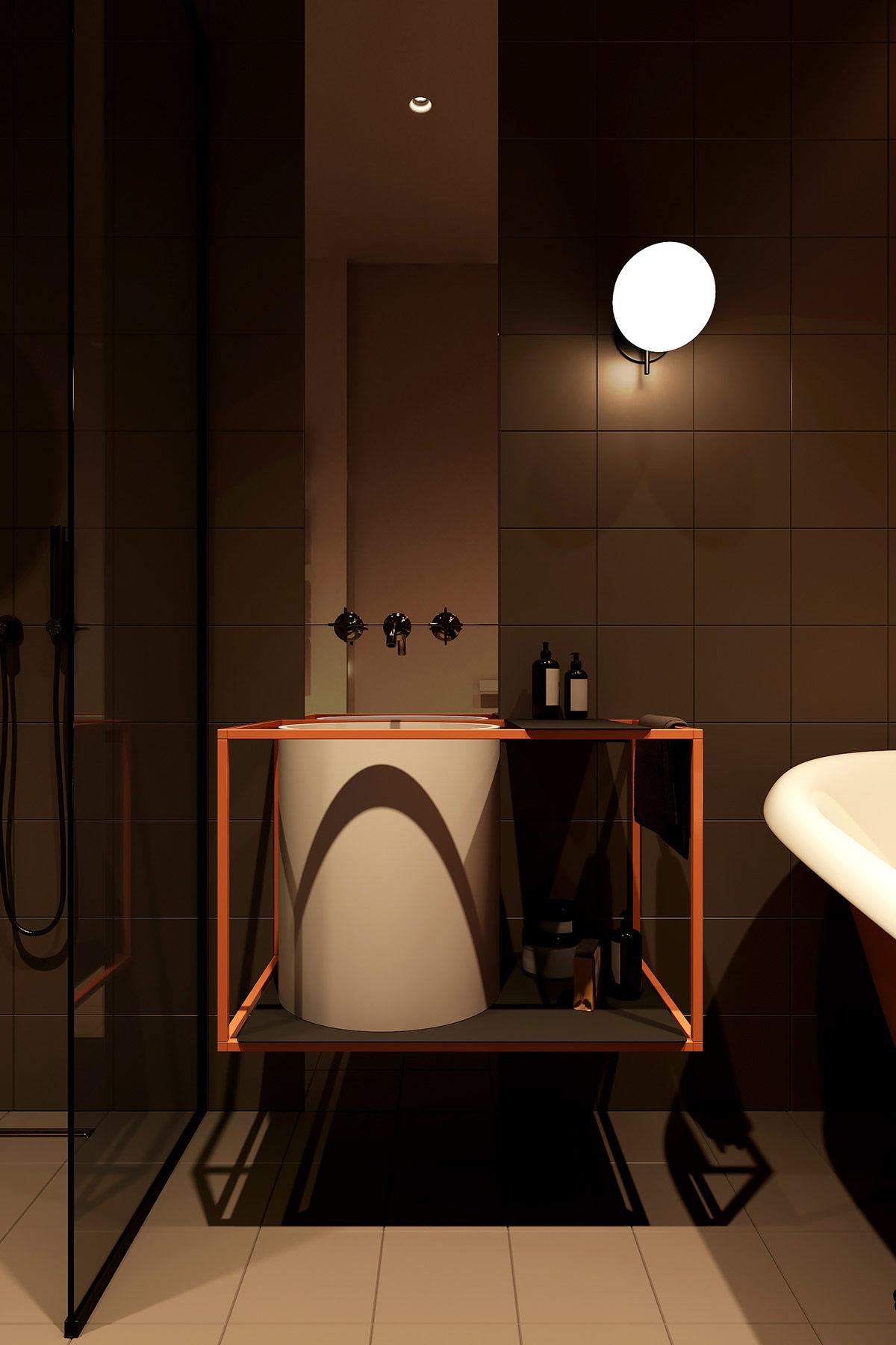 Trên nền gạch màu xám đen, thiết kế bồn rửa mặt cùng giá đỡ màu cam độc đáo  càng thêm nổi bật.