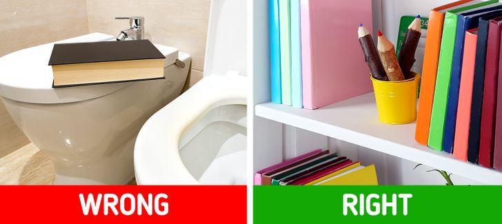 cận cảnh góc phòng tắm với sách báo, tạp chí màu sắc
