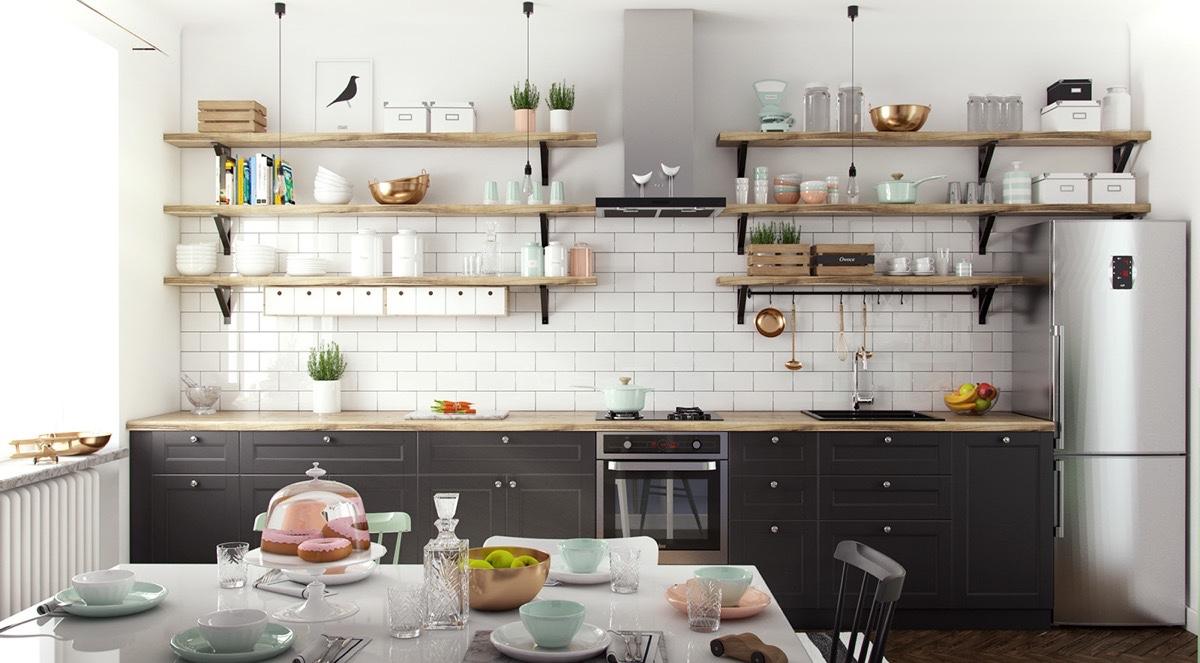 hình ảnh phòng bếp ăn với giá kệ mở gắn tường bày bát đãi, chậu cây cảnh nhỏ xinh,