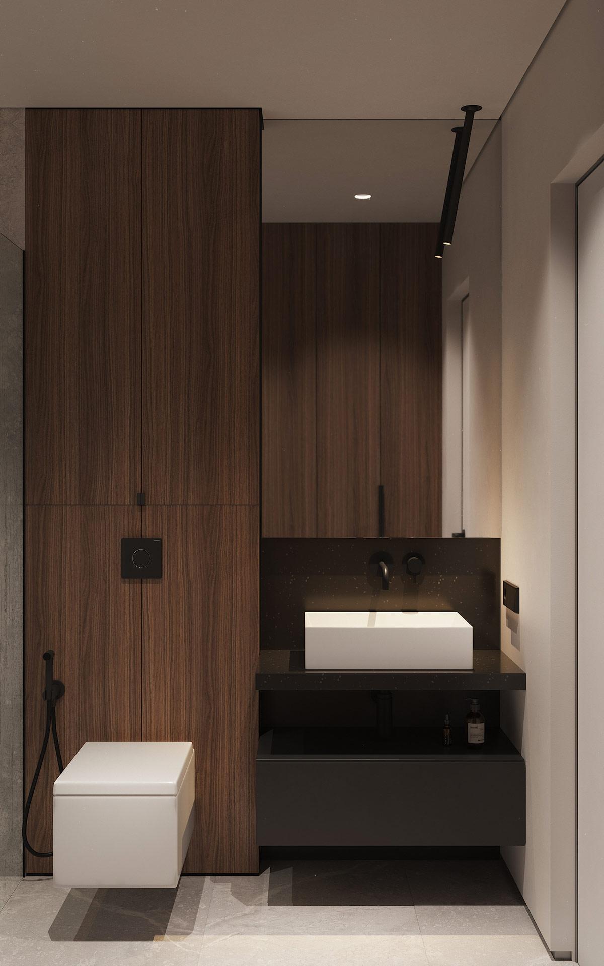 Một phòng tắm khác với thiết kế nội thất tương tự, chỉ thay đổi cách phối màu.